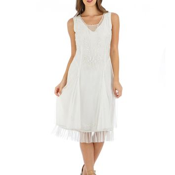 Nataya AL-254 Tara 1920s Flapper Style Party Dress in Ivory