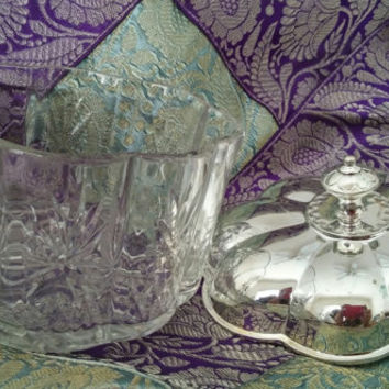 Godinger Silver Art Co LTD Silver Plate and Crystal Trinket Jewelry Box