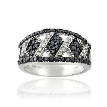 1/2ct Black & White Diamond Criss Cross Silver Tone Band Ring
