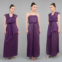 Vintaeg 70s Purple Maxi Dress with Sheer Asymmetric Overlay Grecian Hippie Formal Dress S M