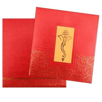 Opulence defining Rich Red Ganesha card - KNK3056