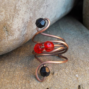 Wire Wrapped Ring FREE SHIPPING WORLDWIDE with a red black bead Jewelry Copper handmade / antique, vintage steampunk bohemian boho mystical