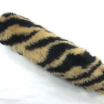 "BEIGE TAN BROWN WITH BLACK STRIPES FAUX TIGER TAIL FOX TAIL KEYCHAIN 12"" CLIP"
