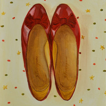 Original Oil Painting,Oil,Still Life Painting,Red Shoes,Vintage Shoes,Shoe Painting,Wall Art,Fashion Painting,9x12,Polka Dots,Ballet Flats