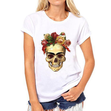 Hot Sell Printed Frida Kahlo Skull With Hat Women T-shirt Short-Sleeved O-Neck Tops Tees Women Casual Shirts Women's Clothing