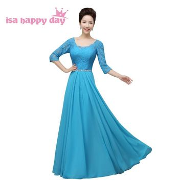 robe de mariage 2018 bridesmaid blue bride maids dresses long dress illusion neckline with sleeves weddings and events H2910