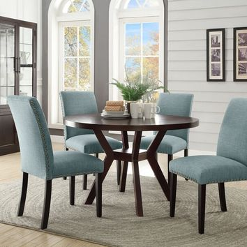 "Acme 16250-59755 5 pc drake espresso finish wood 48"" round dining table set"