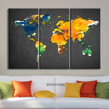 Canvas Print WORLD MAP Gray Background   -  3 Panel Canvas Art Print Watercolor World Map - Ready to Hang - Colorful Mix World Map