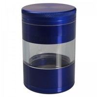 Aluminum Grinder– Blue - 4 part – 50mm - with Window - Herb Grinders - Smoking Accessories - Grasscity.com