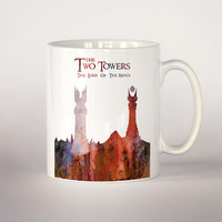 Lord of the rings coffee mug, The two towers tea cup 11 oz. Mug art, movie art, Lord of the rings illustratin poster, Fan Gift,
