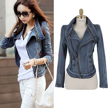Women's Stylish Punk Lapel Zipper Denim Jean Coat Jacket Slim Outerwear Jeans clothes 16123
