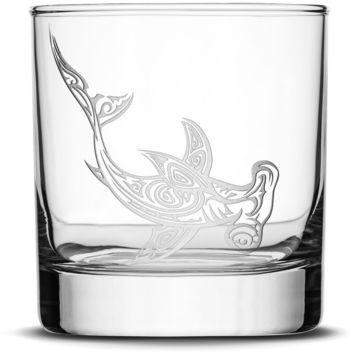 Whiskey Glass with Tribal Hammerhead Shark, Deep Etched