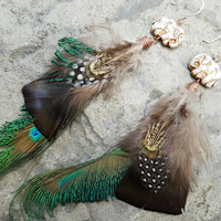 Feather Earrings Large Statement Earrings Colorful Bird Feather Peacock Earrings Mixed Feather Boho Earrings Burning Man Earrings elephants