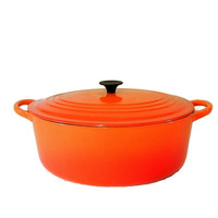 Vintage Le Creuset Oval Oven Enamel Cast Iron Orange Flame No. 29