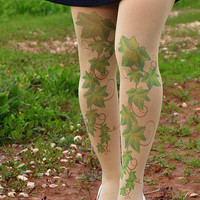 Printed  Tights - Poison Ivy Tights -  Women Accessories