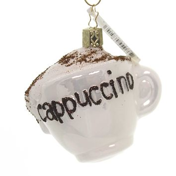 Inge Glas CAPPUCCINO CUP Glass Ornament Latte Coffee Beverage 10196S018