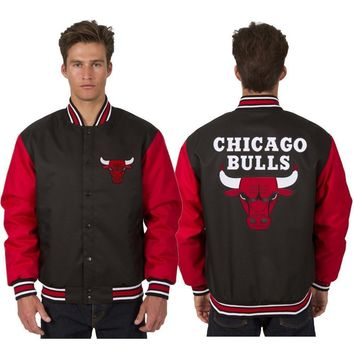 Chicago Bulls Wool Jacket with Embroidered Logos - Black/Bred
