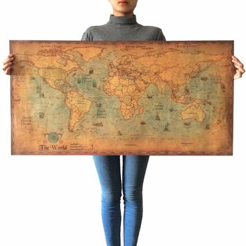 Large Size Vintage Poster Classic Design Character Retro Posters Wall Stickers Wall Art Painting Wallpaper Cafe Bar World Map
