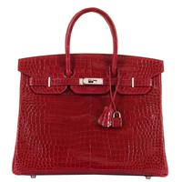 PRISTINE Hermes 35cm Birkin 'Braise Red' Crocodile Bag with Palladium Hardware