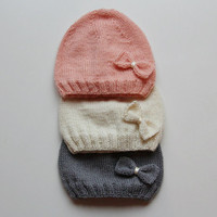 Hand knitted baby hat / baby hat / Merino wool baby hat / baby girl hat / knit baby clothes