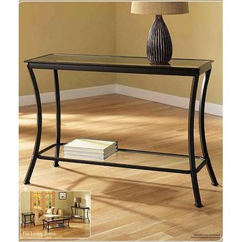 Mendocino Console Table, Metal & Glass - Walmart.com