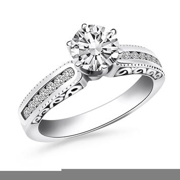 14K White Gold Channel Set Engagement Ring with Engraved Sides