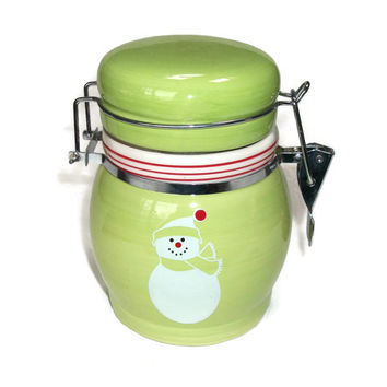 Bright Green Ceramic Snowman Canister Red and White Candy Cane Peppermint Stripes - Small Winter Christmas Canister - Green Apple Candy Jar