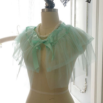 SALE - Soft Airy Mint Green Tulle Satin Bow Sheer Cape Poncho Top,Women's Lolita Clothing, Darling Beach Coverup Bolero Shwal Shrug Boho