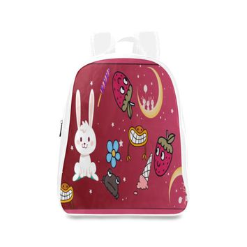 Funny Bunny Girls Large Leather School Backpack (White)