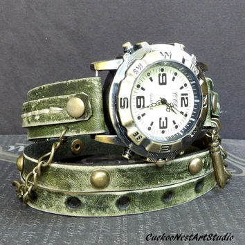 Distressed Green Wrap Watch,  Womens leather watch, Bracelet Watch, Chain Wrist Watch, Fashion Watch