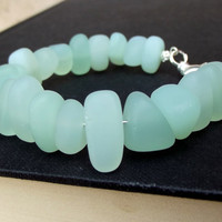 Aqua Sea Glass Chunky Bracelet:  Seafoam Green Freeform Pebble Memory Wire Beach Jewelry
