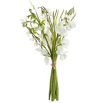 "White Artificial Sweet Pea Bundle - 17"" Tall"