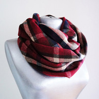 Handmade Plaid Infinity Scarf - Tweed - Burgundy Navy Blue Beige - Winter Autumn Scarf