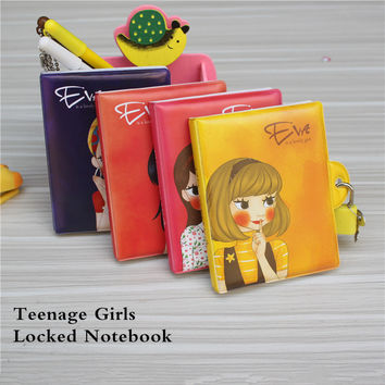 2016 New Korean Plastic surface girls notebook mini cute with lock travel diary Blank student notes gift for gilr free shipping