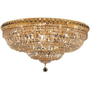 "Tranquil 30"" D Flush-Mount Light, Gold Finish, Clear Crystal, Elegant Cut"