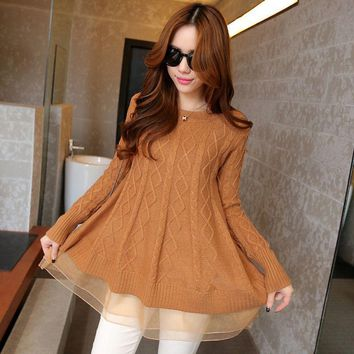 Korean Style Women's A-line Long Thin O-neck Gauze Bottoming Sweaters Loose Turtleneck Lace Hem Jacket