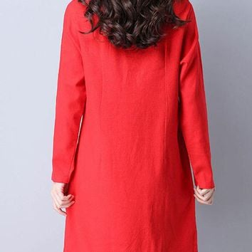Casual Band Collar Color Block Cotton/Linen Shift Dress