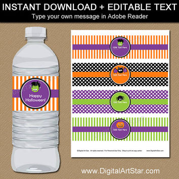 Kids Halloween Water Bottle Labels - Printable Halloween Water Bottle Wraps - Kids Halloween Party Favors - EDITABLE Halloween Labels HF