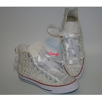 Pearl Crystal Silver Sequin Bow Converse Wedding Prom Sneakers