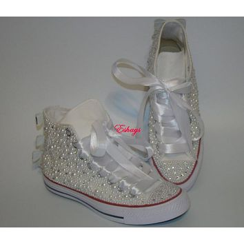 Pearl Crystal Silver Sequin Bow Converse Wedding Prom Sneakers 5fb4a7a9e