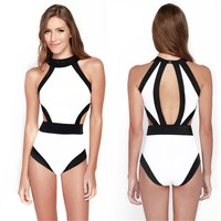 Ayliss Women's Sexy Patchwork High Waist Swimsuit One-piece Bandage Monokini