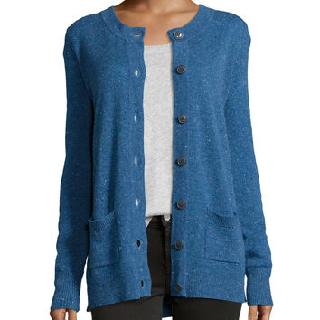 Donegal Speckled Knit Cashmere Cardigan, Size: SMALL, blue - ATM