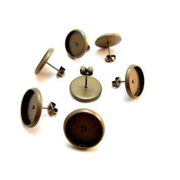 20 Pcs Earring Posts With Butterfly Earnuts Antique Bronze Color- Size: 14mm Diameter, 12mm Inner Tray Diameter, Pin 1mm