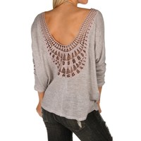 Sale-natural Crochet Back Dolman Top