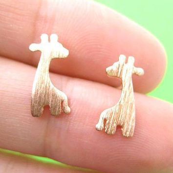 Giraffe Silhouette Animal Stud Earrings in Copper with Allergy Free Earring Posts