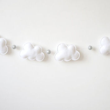 Cloud Garland, Gender Neutral Baby, baby room wall decor, Felt Clouds and Glitter Beads, Baby Shower Gift