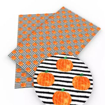 Black striped pumpkins Halloween faux leather fabric sheet