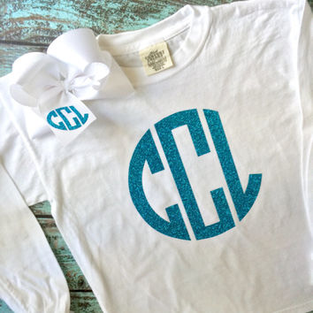 Long Sleeve Monogrammed T Shirt with Monogrammed Hair Bow, Monogrammed gifts, Personalized Cheer gifts, Monogrammed Long Sleeve Shirt
