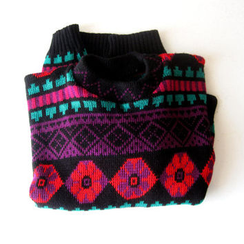 80s Neon Graphic Print Sweater, Chunky Boho Sweater
