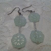 Sea Green Flower Charm Glass Bead Earrings